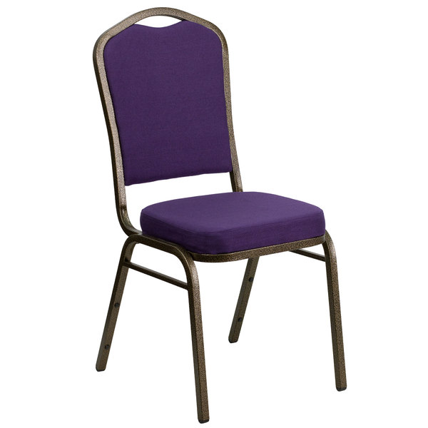 Flash Furniture FD-C01-PUR-GV-GG Hercules Purple Fabric Crown Back Stackable Banquet Chair with Gold Vein Frame Main Image 1