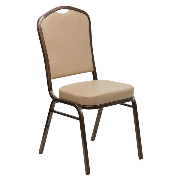 Flash Furniture FD-C01-COPPER-TN-VY-GG Hercules Tan Vinyl Crown Back Stackable Banquet Chair with Copper Vein Frame