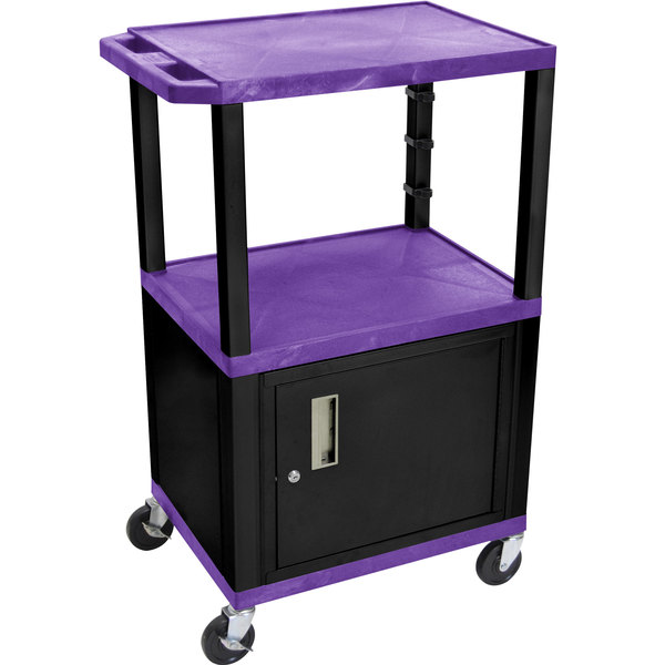 "Luxor WT2642PC2E-B Purple Tuffy Two Shelf Adjustable Height A/V Cart with Locking Cabinet - 18"" x 24"""
