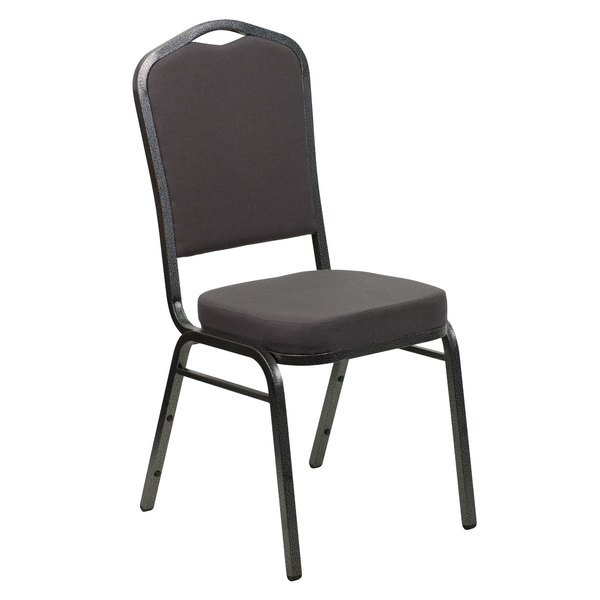 Flash Furniture FD-C01-SILVERVEIN-GY-GG Hercules Gray Fabric Crown Back Stackable Banquet Chair with Silver Vein Frame Main Image 1