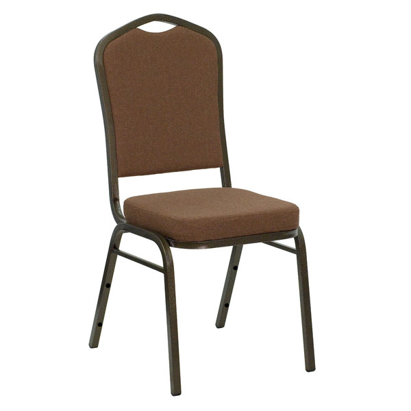 Flash Furniture NG-C01-COFFEE-GV-GG Hercules Coffee Fabric Crown Back Stackable Banquet Chair with Gold Vein Frame Main Image 1