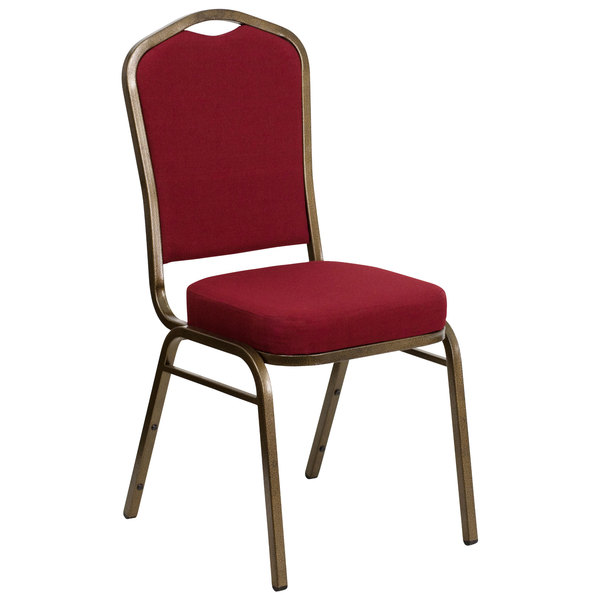 Flash Furniture FD-C01-GOLDVEIN-3169-GG Hercules Burgundy Fabric Crown Back Stackable Banquet Chair with Gold Vein Frame Main Image 1