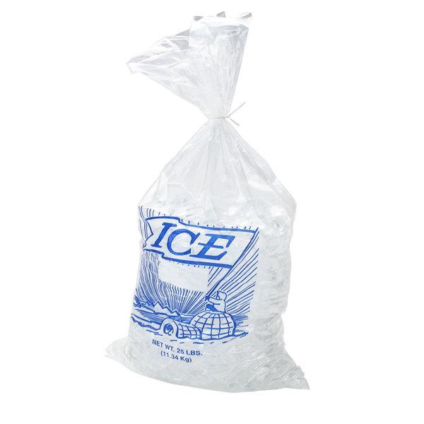 25 lb. Plastic Ice Bag with Blue ICE Logo - 500/Bundle
