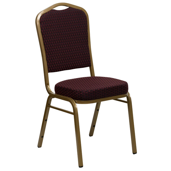 Flash Furniture FD-C01-ALLGOLD-EFE1679-GG Hercules Burgundy Pattern Fabric Crown Back Stackable Banquet Chair with Gold Frame
