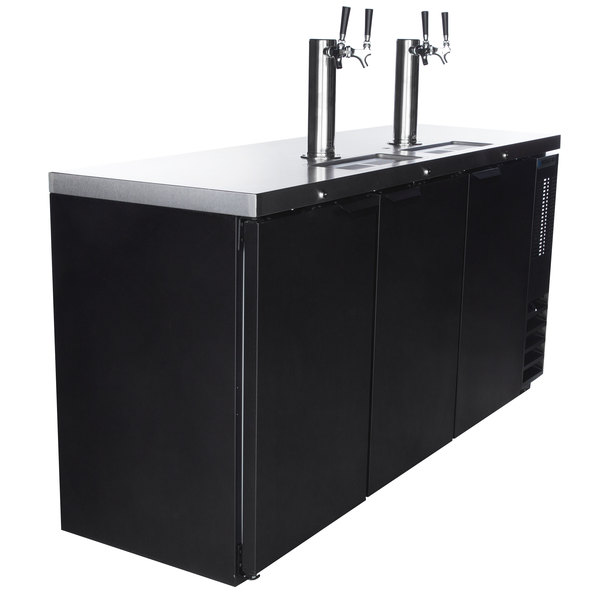 Beverage-Air DD72HC-1-B (2) Double Tap Kegerator Beer Dispenser - Black, (3) 1/2 Keg Capacity