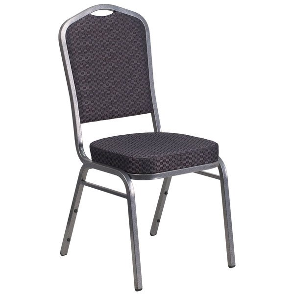 Flash Furniture HF-C01-SV-E26-BK-GG Hercules Black Pattern Fabric Crown Back Stackable Banquet Chair with Silver Vein Frame Main Image 1