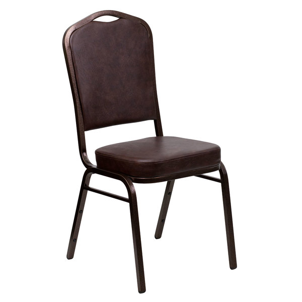 Flash Furniture FD-C01-COPPER-BRN-VY-GG Hercules Brown Vinyl Crown Back Stackable Banquet Chair with Copper Vein Frame
