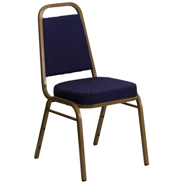 Flash Furniture FD-BHF-1-ALLGOLD-0849-NVY-GG Hercules Navy Blue Pattern Fabric Trapezoidal Back Stackable Banquet Chair with Gold Frame Main Image 1