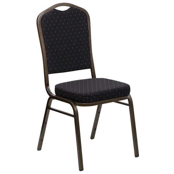 Flash Furniture FD-C01-GOLDVEIN-S0806-GG Hercules Black Pattern Fabric Crown Back Stackable Banquet Chair with Gold Vein Frame