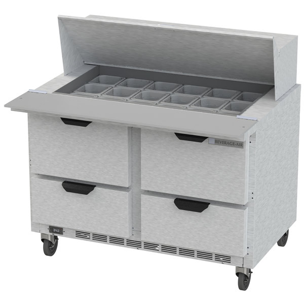 """Beverage Air SPED48HC-18M-4 48"""" 4 Drawer Mega Top Refrigerated Sandwich Prep Table"""