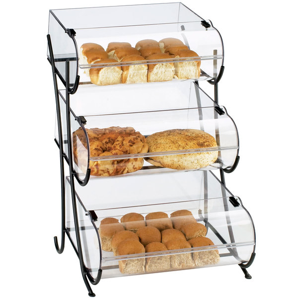 """Cal-Mil 1280-3 Three Tier Black Wire Pastry Display - 17 1/2"""" x 16 1/2"""" x 25"""""""