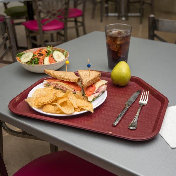 "Carlisle CT1713TR61 Cafe 14"" x 18"" Burgundy Trapezoid Plastic Fast Food Tray - 12/Case"