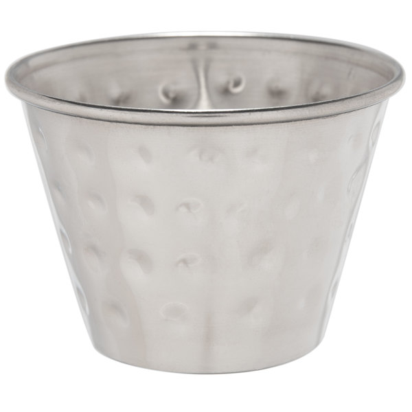 Choice 2.5 oz. Hammered Stainless Steel Round Sauce Cup - 12/Pack