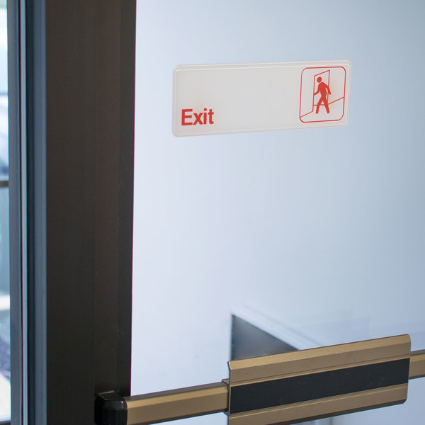 """Exit Sign - Red and White, 9"""" x 3"""""""
