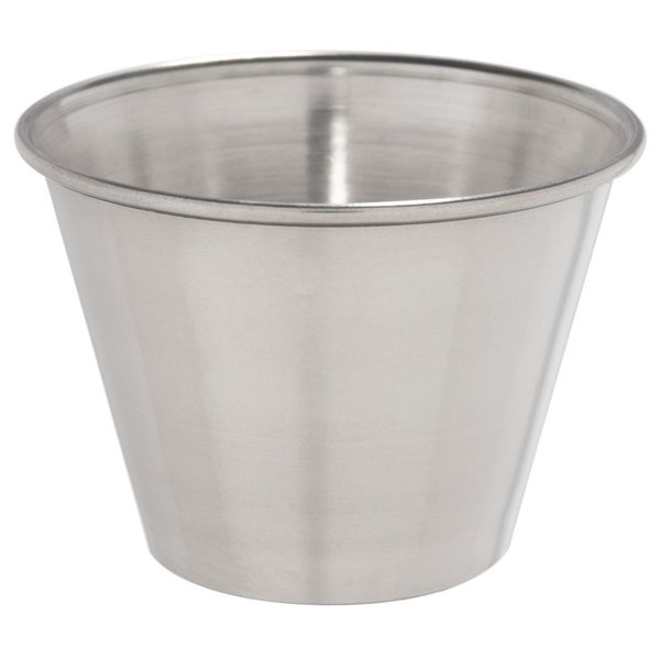 Choice 2.5 oz. Smooth Stainless Steel Round Sauce Cup  - 12/Pack