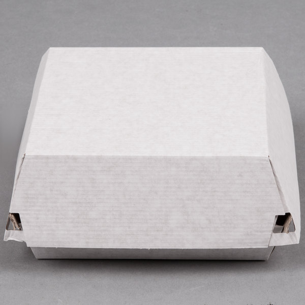 "LBP 55100 6 1/2"" x 6 1/8"" x 3"" Deluxe Corrugated Clamshell Sandwich Take-Out Box - 200/Case"