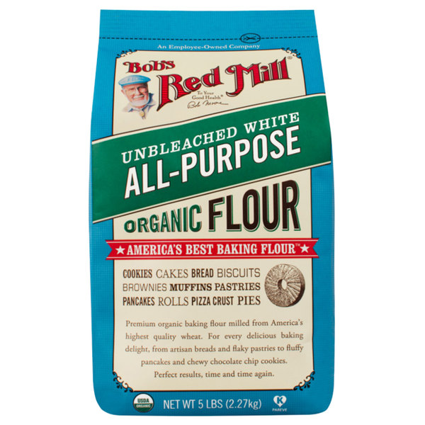Bob's Red Mill 5 lb. Organic All Purpose Unbleached Flour - 4/Case Main Image 1