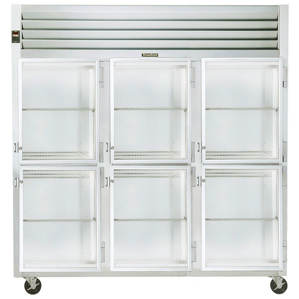 Traulsen G32002 3 Section Glass Half Door Reach In Refrigerator - Right Hinged Doors Main Image 1