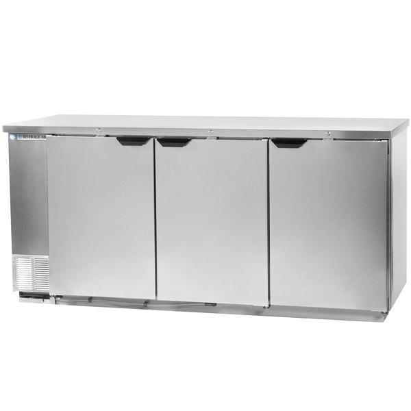 "Beverage-Air BB72HC-1-S 72"" Stainless Steel Solid Door Back Bar Refrigerator"