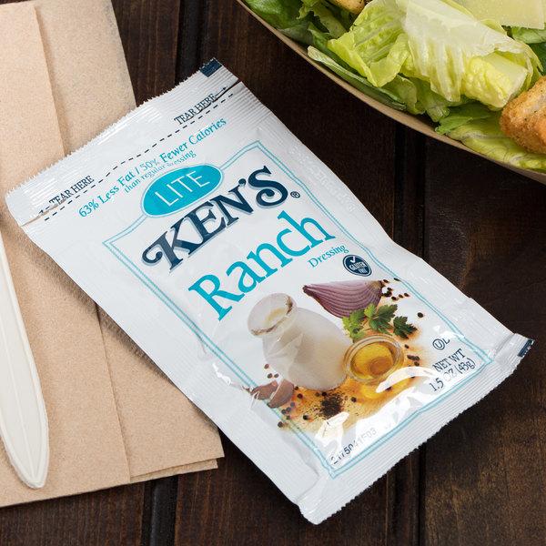 Ken's Foods 1.5 oz. Lite Ranch Dressing Packet - 60/Case