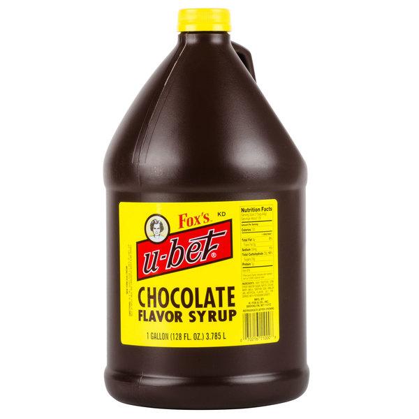 Fox's U-Bet 1 Gallon Chocolate Syrup - 4/Case