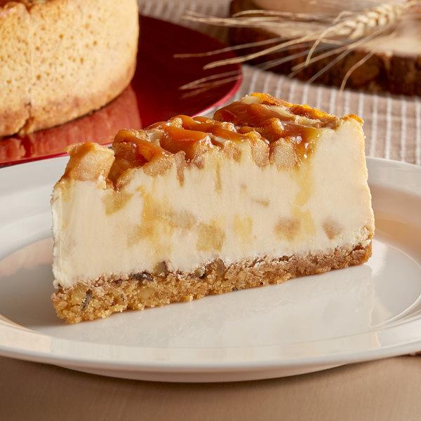 "Pellman 9"" Pre-Cut Salted Caramel Apple Cheesecake - 6/Case"