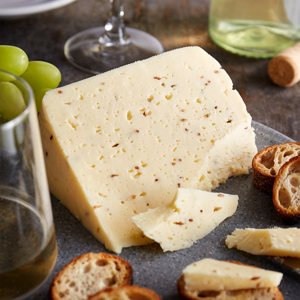 St. Clemens Imported Creamy Havarti Danish Cheese with Caraway - 9 lb. Solid Block Main Image 2