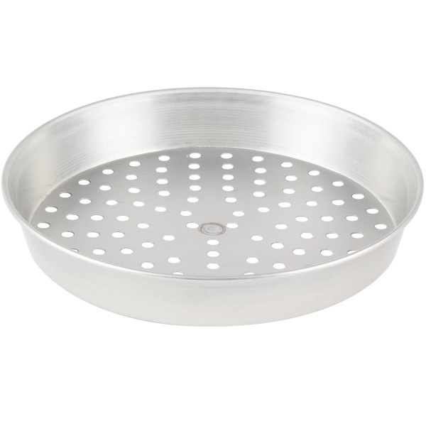 "American Metalcraft PT90142 14"" x 2"" Perforated Tin-Plated Steel Pizza Pan"