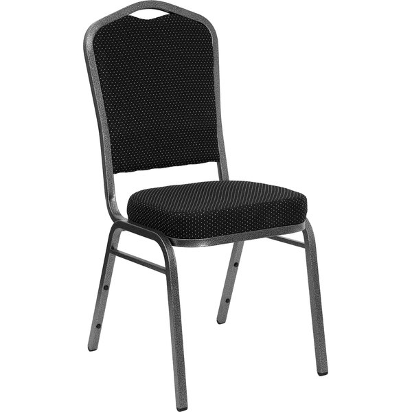 Flash Furniture FD-C01-SILVERVEIN-S076-GG Hercules Black Dotted Pattern Fabric Crown Back Stackable Banquet Chair with Silver Vein Frame