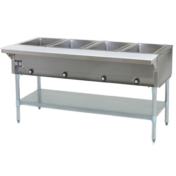 Eagle Group SHT4 Natural Gas Steam Table Four Pan - All Stainless Steel - Open Well Main Image 1