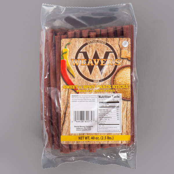 Weaver's 2 5 lb  Sweet and Spicy Snack Sticks - 2/Case