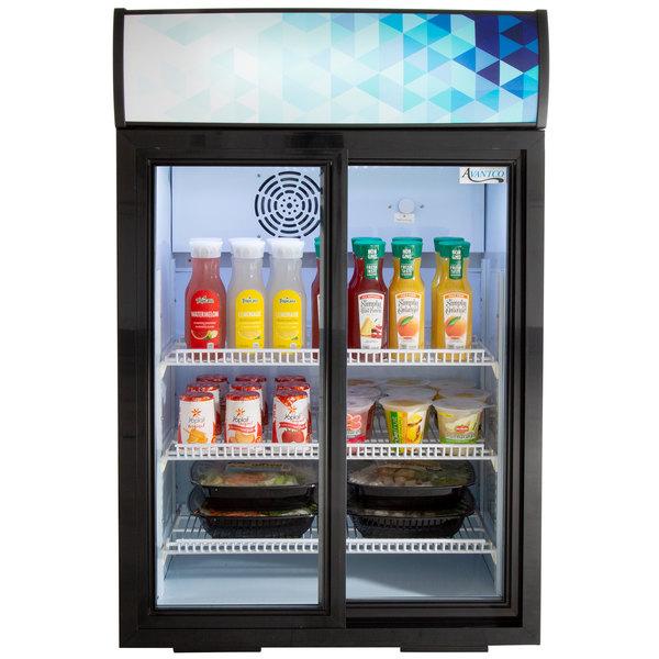 Avantco CSM-4-HC Black Countertop Display Refrigerator with Sliding Door and Merchandising Panel