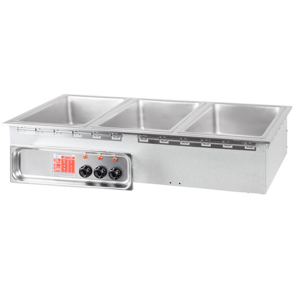 APW Wyott HFW-3 Insulated Three Pan Drop In Hot Food Well with Infinite Controls - 120V; 1500W Main Image 1