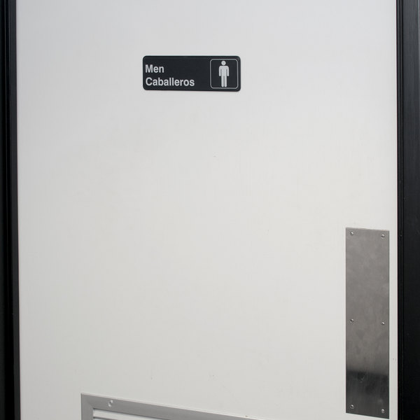 "Tablecraft 394566 Men's / Caballeros Restroom Sign - Black and White, 9"" x 3"""