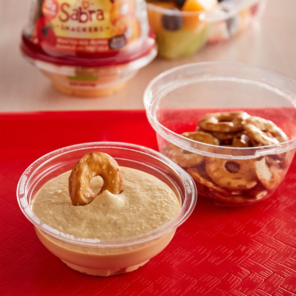 Sabra 4.56 oz. Roasted Red Pepper Hummus with Rold Gold Pretzels - 12/Case Main Image 2