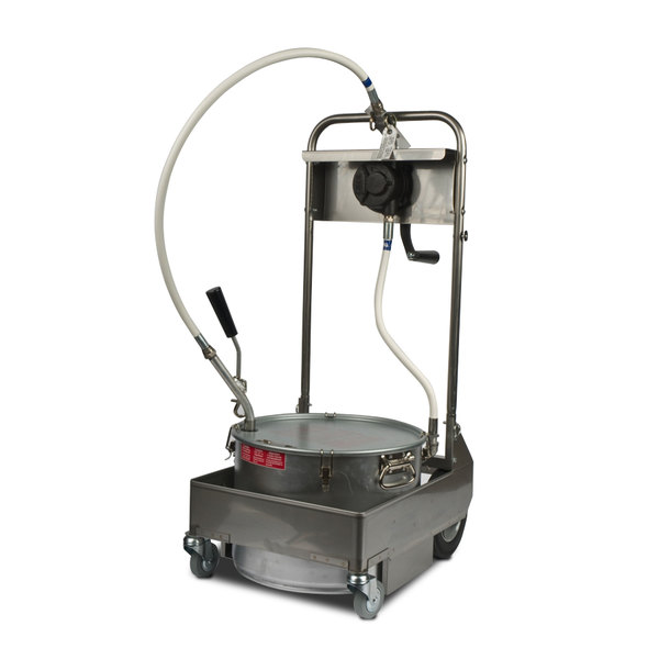 MirOil 55HS 50 lb. Fryer Oil Hand Operated 2-Way Filter Machine and Discard Trolley Main Image 1
