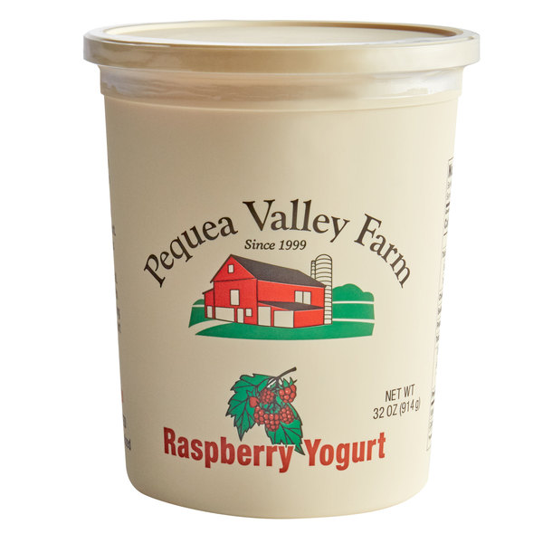 Pequea Valley Farm 32 Oz Amish Made 100 Grass Fed Raspberry Yogurt 6 Case