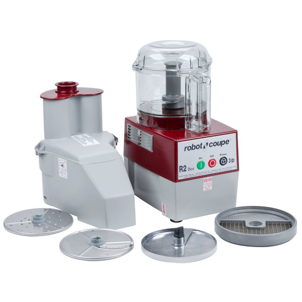 Robot Coupe R2CLR Dice Combination Continuous Feed Food Processor / Dicer with 3 Qt. Clear Bowl - 2 hp