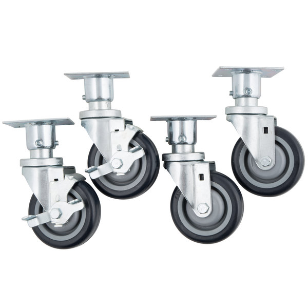 "Vulcan CASTERS-PLTMNT 4"" Adjustable Swivel Casters for VEG35, LG300, LG400, and LG500 Series - 4/Set Main Image 1"