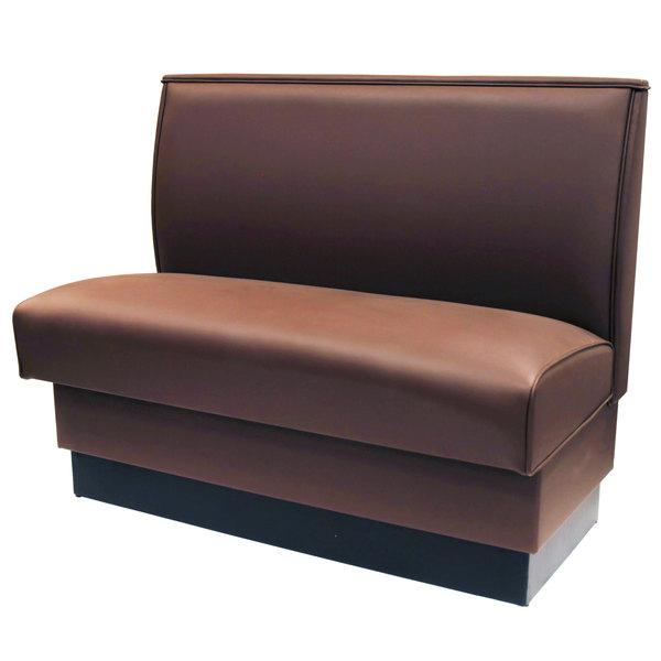 "American Tables & Seating QAS-36-MOCHA 46"" Mocha Plain Single Back Fully Upholstered Booth"