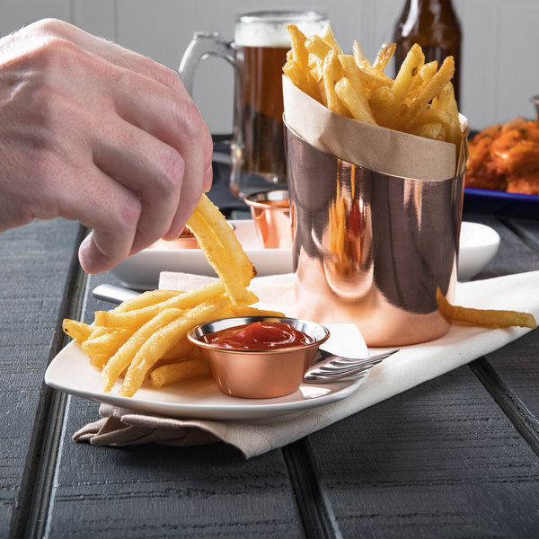 Choice 12 oz. Smooth Copper Stainless Steel Appetizer / French Fry Holder with Angled Top