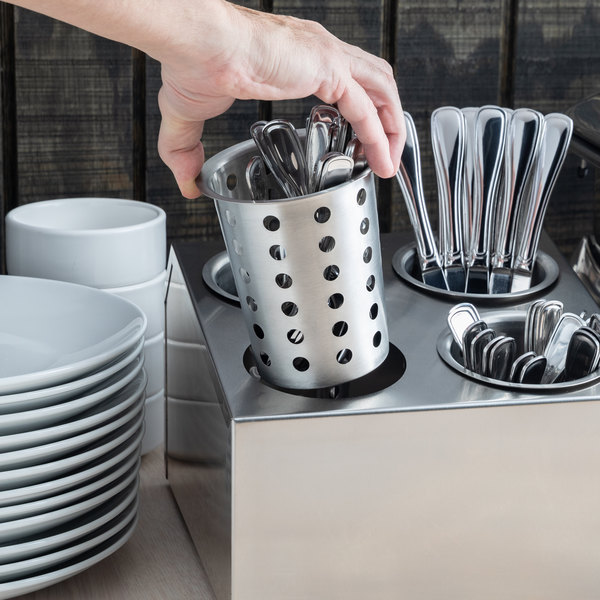 Choice Perforated Stainless Steel Flatware Holder Cylinder Main Image 3