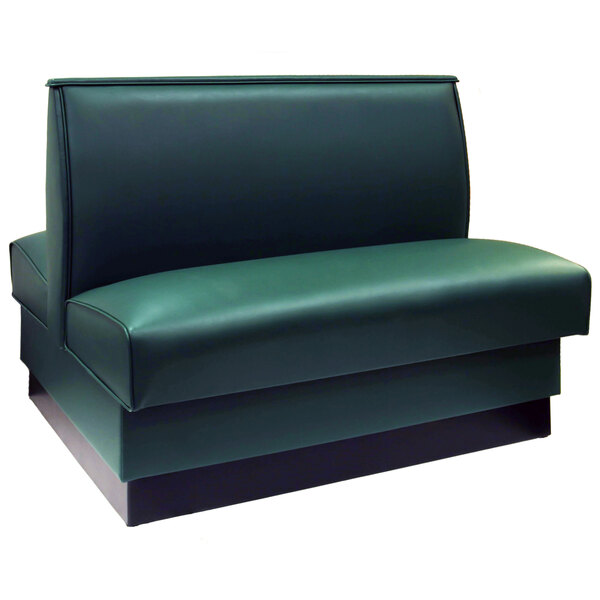 """American Tables & Seating QAD-36-FORESTGREEN 46"""" Forest Green Plain Double Back Fully Upholstered Booth Main Image 1"""