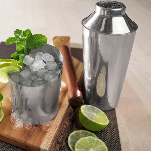 Choice 28 oz. Stainless Steel 3-Piece Cobbler Cocktail Shaker Main Image 3