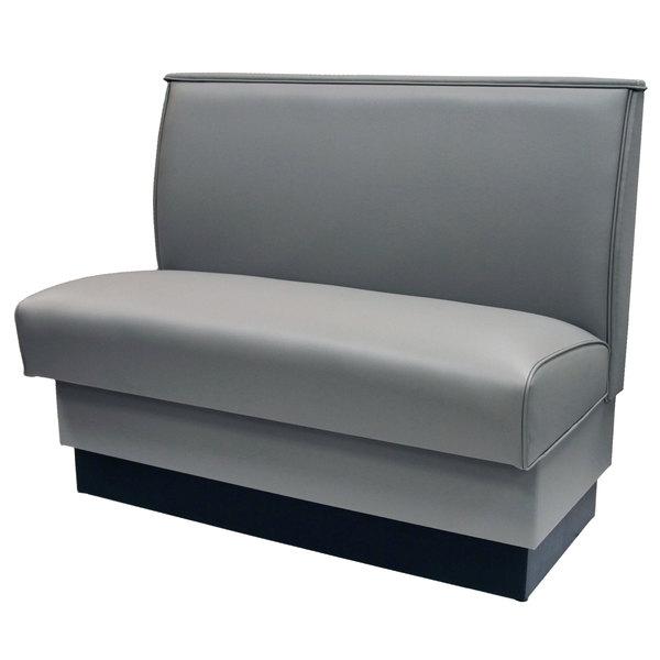 "American Tables & Seating QAS-36-GUNMETAL 46"" Gunmetal Plain Single Back Fully Upholstered Booth"