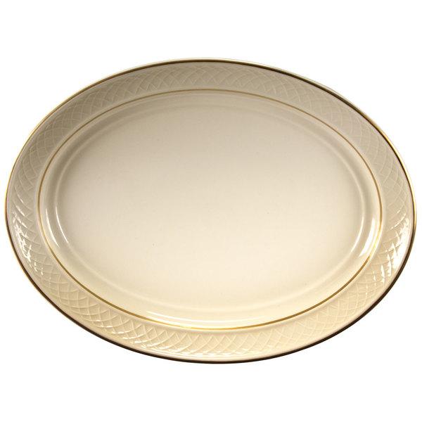 "Homer Laughlin 1420-0352 Westminster Gothic Ivory (American White) 11 1/2"" Oval Platter - 12/Case"