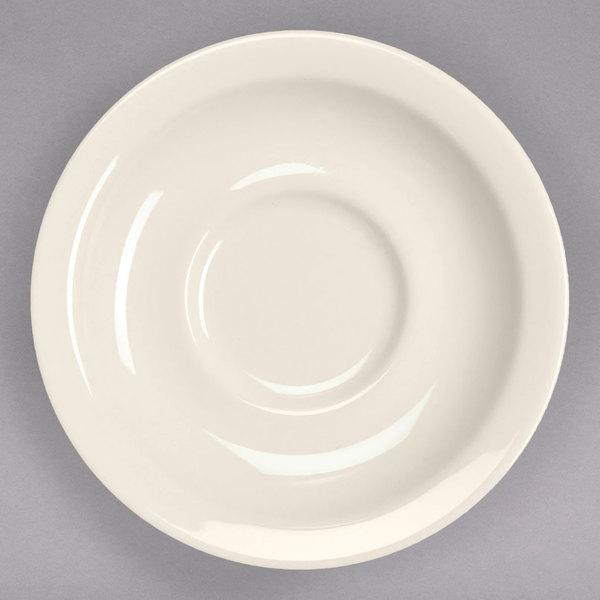 "Homer Laughlin 28300 5 1/2"" Ivory (American White) Narrow Rim China Texas Saucer - 36/Case"