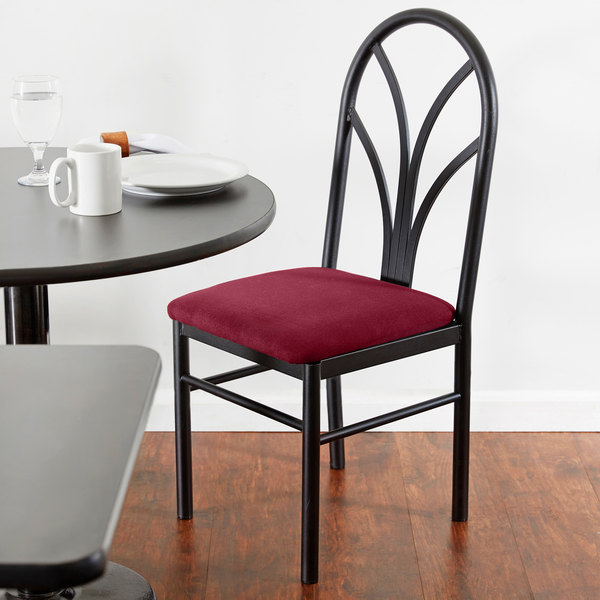 "Lancaster Table & Seating Maroon 4 Spoke Restaurant Dining Room Chair with 1 3/4"" Padded Seat Main Image 4"