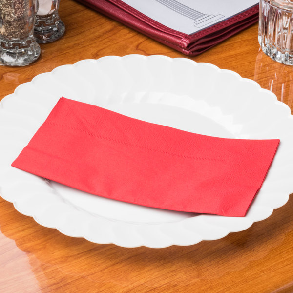 "Red Paper Dinner Napkins, 2-Ply, 15"" x 17"" - Hoffmaster 180511 - 1000/Case"