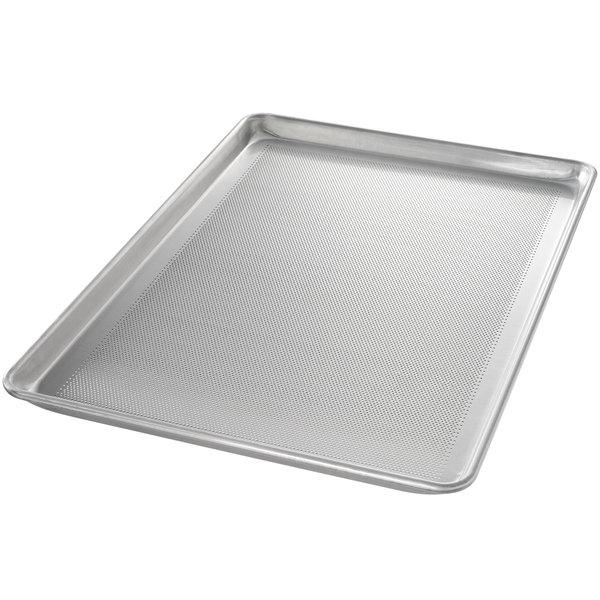 "Chicago Metallic 44896 StayFlat Perforated Full Size 18 Gauge Glazed Aluminum Customizable Sheet Pan - Wire in Rim, 18"" x 26"""